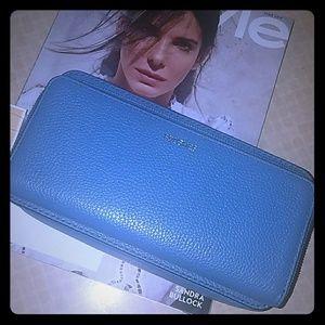 Michael Kors Mercer Denim Blue makeup bag pouch